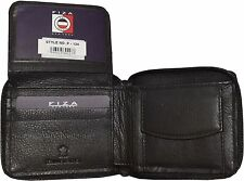 Zip around FIZA NY leather men's wallet Brown Bi-fold wallet w change purse NWT