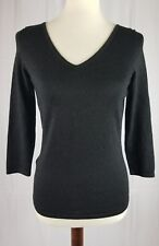 Ann Taylor womens Size Small v neck black sweater top Metallic thread pullover