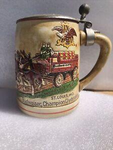 Vintage 1980 Ceramarte Budweiser Clydesdales Holiday Beer Stein Mug with Lid
