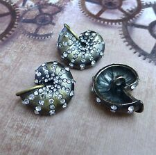 Pack of 2 Bronze Decorative Button Shell with Rhinestones