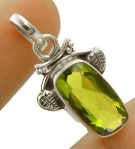 2CT Peridot 925 Solid Sterling Silver Pendant Jewelry 1 1/3'' Long NW3-8