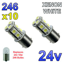 10 x White 24v LED BA15s 246 R10W 13 SMD Number Plate Interior Bulbs HGV Truck