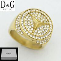 DG Men's Stainless Steel.Gold Iced-Out CZ Rings 7 8,9,10,11,12 13 Box
