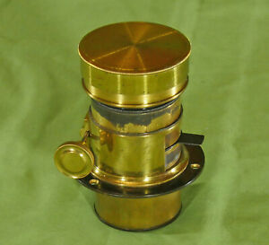 Extremely Rare Petzval Type Brass Camera Lens From Sliding Box camera c. 1860