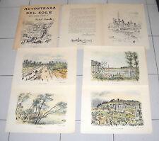Folder AUTOSTRADA DEL SOLE quattro acquerelli disegni di MICHELE CASCELLA 1959