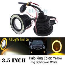 """2x 3.5"""" COB LED Fog Light Car Lamp White&Amber Angel Eye Halo Ring DRL Bulb 12v"""