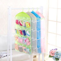 Portable 16 Pockets Hanging Bag Socks Bra Storage Wall Closet Organizer