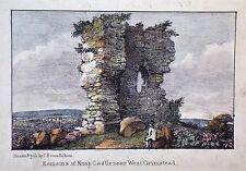 OLD ANTIQUE PRINT REMAINS KNAP CASTLE WEST GRIMSTEAD WILTSHIRE c1830s LITHOGRAPH