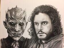 Jon Snow / Night King G.O.T 14X17 Sketch NOT A PRINT By Arsenio Echevarria !!