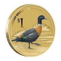 2013 Birds Australian Shelduck Tuvalu $1 Dollar Coloured UNC Coin Carded