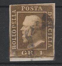 FRANCOBOLLI 1859 SICILIA 1 GRANO VERDE OLIVA II° TAVOLA D/1534
