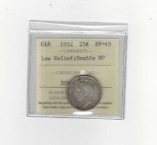 **1952 Double HP,  Low Relief**, ICCS Graded Canadian, 25 Cent, **EF-45**