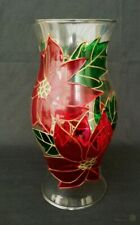 Stained Glass Votive Shade In Poinsettia Design | FREE Delivery UK*