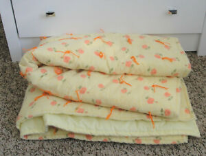 """Handmade Baby Quilt,Yellow,Roses,Floral Crib-Toddler Bed Blanket,Yarn Ties,45"""""""