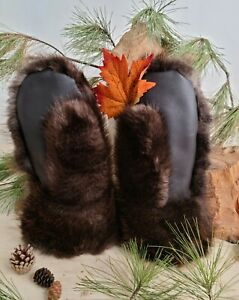 Men and Women's snowmobile fur mittens SHORT real beaver fur and leather