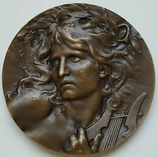 France - C. LOUDRAY bronze art medal ORPHEUS MUSIC, 68 mm, 137 gr