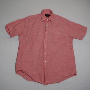 Brooks Brothers Men's Pink Irish Linen Short Sleeve Button Up Shirt Size Large