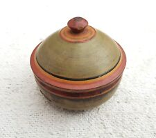 Old Early Handmade Red-Yellow-Black-Green Lacquer Paint Dome Shape Wooden Box