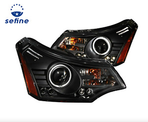 Anzo Projector Black Headlights Clear CCFL Halogen for 08-11 Ford Focus 121272