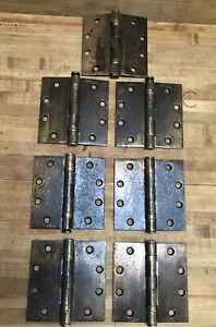 Vintage Lot 7 Stanley door Hinges Brass Heavy  4 3/8 X 2inches