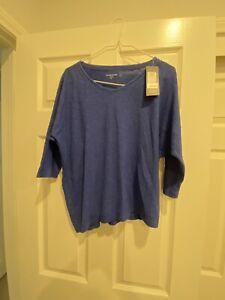 NWT Eileen Fisher Women's Sz PP Royal Blue 3/4 Sleeves Vneck Organic Shirt
