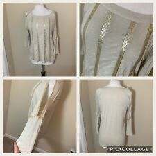 727fff5810065 Chicos Cold Shoulder Top Size 1 Women Gold Tan Sequins Blouse Tee Shirt NWT