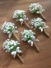 Wedding Gypsophilia buttonholes x 6 satin bow and stems bound in rope