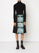 $1.1K CREATURES OF THE WIND NEW Plaid Fringe Front Twill Wool Skirt BLACK 8 USA