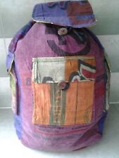Hippy rucksack washed fabric lined adjustable straps 3 exterior pockets flap top