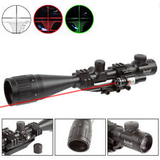 Rifle Scope Hunting 6-24X50 R/G Mil-dot Reticle w/ PEPR Mount +Red Laser Sight