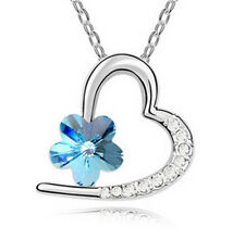 Fashion Jewelry Silver Plated Light blue Crystal Pendant Heart Charm Necklace