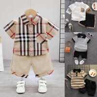 Kids Plaid Polo T-shirt Tops+Shorts Pants Boys Stripe 2PCS Outfits Fashion Set