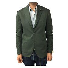 Men's Jacket Unlined Green L.B.M.1911 79% Cotton 21% Linen Mod. 2857 Slim Fit