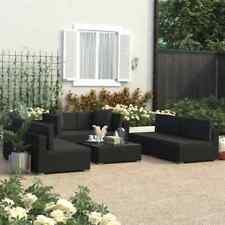 vidaXL Set de Muebles de Jardín 7 Piezas y Cojines Ratán Sintético Negro Juego