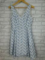 Portmans Fit & flare dress Blue, white floral print Laser cutout Embroidered