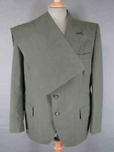 BESPOKE 70's HARDY AMIES GOLDEN TALISMAN GREEN TREVIRA SUIT CHEST 42/WAIST 36 IN