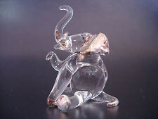 Glass Animal ELEPHANT Clear and Gold Painted Glass Ornament Glass Figure Gift