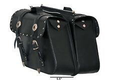 Model 34 Leather Zip Off Chrome Plated with Studs Motorcycle Panniers Saddle Bag