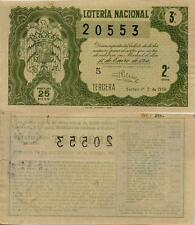 Año 1956. 25 Pesetas Décima parte del billete. 14 de Enero. Sorteo Nº 2.