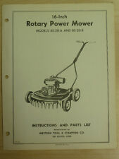 """WESTERN TOOL 16"""" ROTARY POWER MOWER INSTRUTIONS, PARTS MANUAL BE-20-A & BE-20-B"""