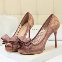Women Pumps Sexy Platform Bow Tie Stiletto High Heel Peep Toe Party Ladies Shoes