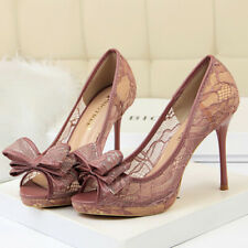 Women Pumps Sexy Platform Bow Tie Stiletto High Heel Peep Toe Party Ladies Shoes