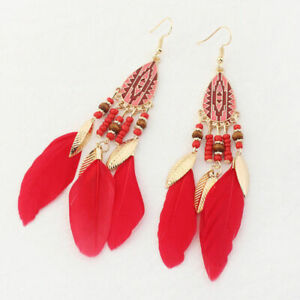 Funky Vintage Inspired Red Long Feather Beaded Earrings Gold Plated Gift Jewelle