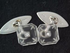VINTAGE Art Deco SOLID PLATINUM & DIAMOND CAMPHOR GLASS CUFFLINKS in BOX
