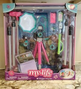 """My Life As a Vlogger 20 Piece Gray Teal Accessories Play Set for 18"""" Doll NEW"""