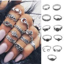11PCS Vintage Silver Boho Fashion Arrow Moon Midi Finger Knuckle Rings Jewelry