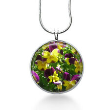 Pansy Flower necklace-flower jewelry, flower pendant,floral necklace,pansies