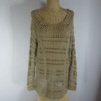 Soft Surroundings Womens Medium Beige Long Sleeve Crochet Lace Tunic Shirt M