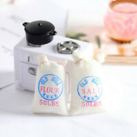 2Pcs Dollhouse Miniature flour+salt bags Toys Doll Food Kitchen Accessories