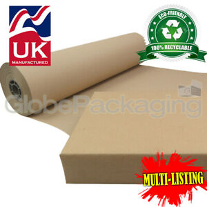 STRONG 100% RECYCLED BROWN KRAFT WRAPPING PAPER ROLLS 90gsm PACKING PACKAGING